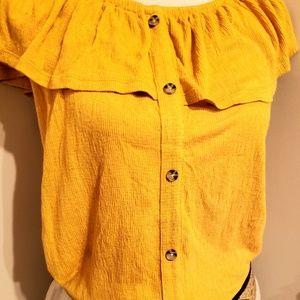 Button up Sleeveless w tier at neckline Summer Top